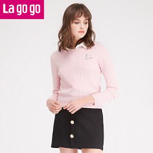 拉谷谷lagogo2016冬季新款时尚百搭直筒圆领长袖针织衫