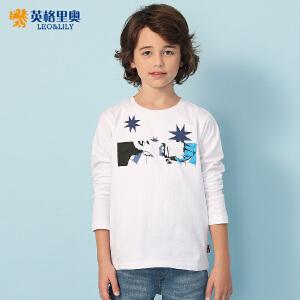 2018春装新款男童长袖白色圆领T恤衫中大童纯棉童装打底衫