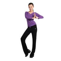 瑜伽服女长袖广场舞服装套装拉丁舞服新款大码莫代尔秋冬新款