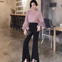 韩版名媛小香风气质甜美宽松灯笼袖时尚透气衬衫+阔腿裤长裤 套装
