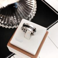 日韩版钛钢镀玫瑰金带钻情侣戒指男女款食指环戒子时尚百搭配饰品