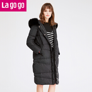 【每满200减100】lagogo冬季新款女装黑色修身显瘦连帽大毛领外套中长款女羽绒服