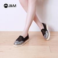 jm快乐玛丽厚底帆布鞋夏季镂空增高懒人平底休闲鞋布鞋女鞋52023W