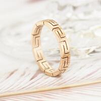 新 玫瑰金戒指镀男女情侣对戒潮人食指尾戒指环钛钢首饰品