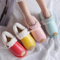 休闲鞋棉拖鞋女冬季包跟居家室内保暖防水防滑厚底情侣皮拖鞋男