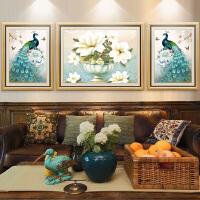 客厅装饰画沙发背景墙挂画美式孔雀壁画现代欧式墙画大气墙面油画 110*85【中间】/65*85【左右】 整套价格