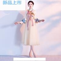 改良旗袍连衣裙2018夏季长款端庄大气复古中国风少女中式礼服