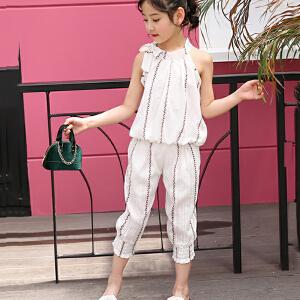 乌龟先生 儿童套装 女童套装韩版时尚条纹棉套装洋气印花樱桃水果风无袖蝴蝶结中大童套装