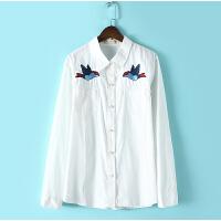 纯棉白衬衫女 秋冬长袖款 女士休闲修身百搭衬衣复古文艺鸟儿刺绣