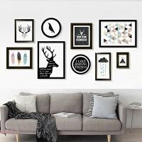 现代简约照片墙 北欧创意实木组合装饰画大相框个性挂墙相片墙