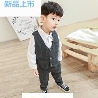 儿童礼服男童小西装格子马甲套装花童服韩版儿童钢琴演出服春季马甲两件套