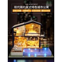 智趣屋手工DIY小屋时光公寓别墅阁楼房子模型木质玩具生日礼物女