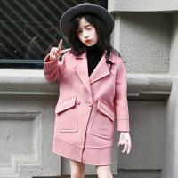 2019 冬装韩版时尚中大童潮西装款毛呢大衣加绒加厚中长款呢子外套