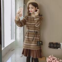 毛呢连衣裙秋冬季2018新款冷系女装长袖打底加厚法式少女茶歇裙子