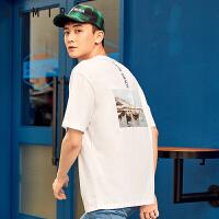 森马短袖t恤男士2018夏季新款圆领半袖衣服男嘻哈潮牌街头男装潮