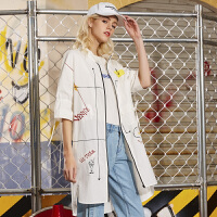 2018夏装新品 立领印花中长短袖衬衫外套女Y721163W20