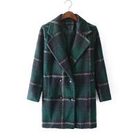 英伦风双排扣加厚过膝长韩版经典海藻毛格子毛呢大衣0.94外套DZ