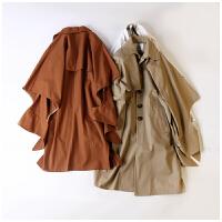 冬装新款女装韩版翻领单排扣直筒无袖外套中长款风衣AY