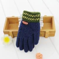 儿童手套男童冬季小孩自行车手套 加绒保暖中大童小学生五指手套 建议6-12岁