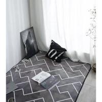儿童防滑加厚客厅地垫卧室宝宝爬行垫爬爬垫卡通游戏毯家居垫 灰色 Z线条C(灰色)