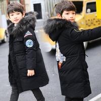 冬季男童羽绒服中长款中大童加厚儿童男孩男大童冬装秋冬新款 黑色 (尺码偏大)