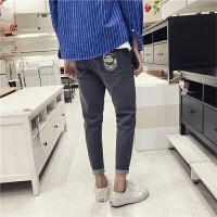 男士牛仔裤秋季新款韩版潮流裤子男修身长裤日系复古小脚裤黑色