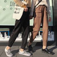 秋冬季新款韩版加厚纯色休闲裤情侣装宽松百搭学生呢子bf 裤子女