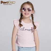 【3件3折 到手价:89】Pawinpaw卡通小熊童装夏款女童圆领带花边无袖T恤