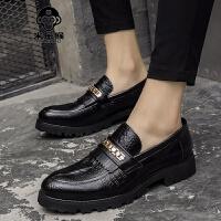 米乐猴 夏季英伦男鞋鳄鱼纹尖头皮鞋商务休闲鞋厚底增高发型师鞋子