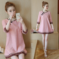 实拍春夏新款女装春装新款蕾丝旗袍文艺复古显瘦中长款连衣裙 粉红色