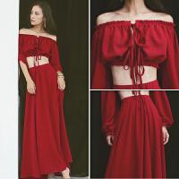 盐湖红色连衣裙长裙子泰国云南旅游沙滩裙显瘦海边度假套装裙 S 建议80-99斤