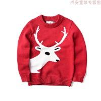 童装秋装男童圣诞麋鹿羊毛衫柔软毛衣儿童宝宝红线衫
