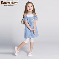 【1件4折 到手价:239】Pawinpaw卡通小熊童装女童撞色露肩小飞袖女大童A字连衣裙