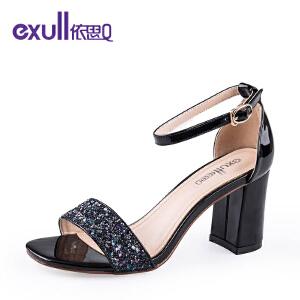 exull依思q夏新款凉鞋女粗跟女鞋搭扣高跟凉鞋-