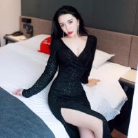 夜店女�b�L裙子2018秋冬新款性感�L款V�I�_叉�Y服�@瘦�L袖�B衣裙 黑色