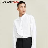【满399减80】Jackwalk秋新款男士纯棉休闲长袖衬衫拉夏贝尔男装杰克沃克