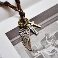 男士配饰十字架项链男女潮人个性羽毛挂饰复古文艺吊坠毛衣链装饰