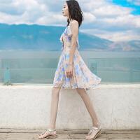 夏季新品女装荷叶边露背吊带裙雪纺连衣裙波西米亚海边度假沙滩裙 图片色 XZA263