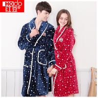 红豆居家情侣睡袍 男女时尚星星印花长袖珊瑚绒居家浴袍
