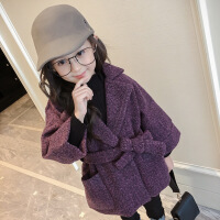 女童呢子外套2018秋冬款韩版小女孩童装中大童西装领加厚毛呢大衣 紫色