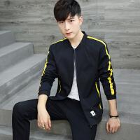 男士新款大码外套男韩版青少年黄条杠夹克潮秋冬装棒球领上衣