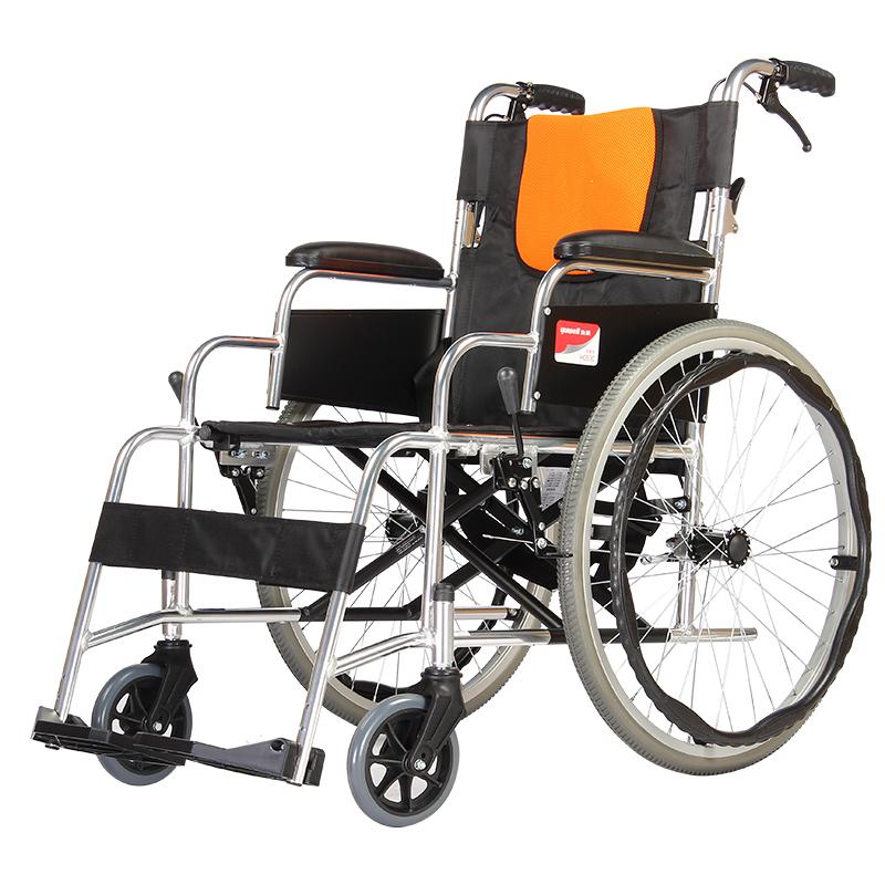 鱼跃轮椅车H053C 鱼跃铝合金充气折背型轮椅 钢管轮 可折叠   男女适用更多优惠搜索【好药师轮椅】质量保障