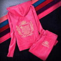 早秋新款欧货卫衣金丝天鹅绒运动休闲服春秋季套装女士保暖