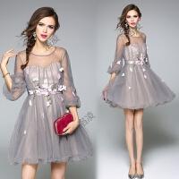 连衣裙夏新款女网纱淑女贴花朵唯美时尚连衣裙蓬蓬裙