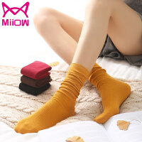 猫人5双装女士袜子女秋冬薄款百搭韩版森系堆堆袜女纯色复古休闲运动中筒女袜