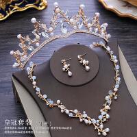新款新娘头饰三件套装公主结婚皇冠森系韩式婚纱配饰金色项链