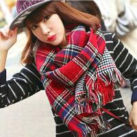 仿羊绒韩版潮格子秋冬天 新款 加厚 暖双面女 围巾披肩两用超长