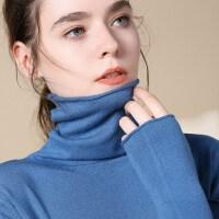 安妮纯高领毛衣女秋冬加厚修身堆堆领打底衫套头女针织衫长袖宽松