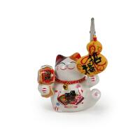 名片夹陶瓷招财猫办公桌照片夹柜台摆件商务礼品创意装饰品