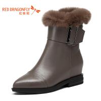 红蜻蜓秋冬新款真皮女鞋高粗跟短筒女靴百搭时尚绒里保暖女棉靴